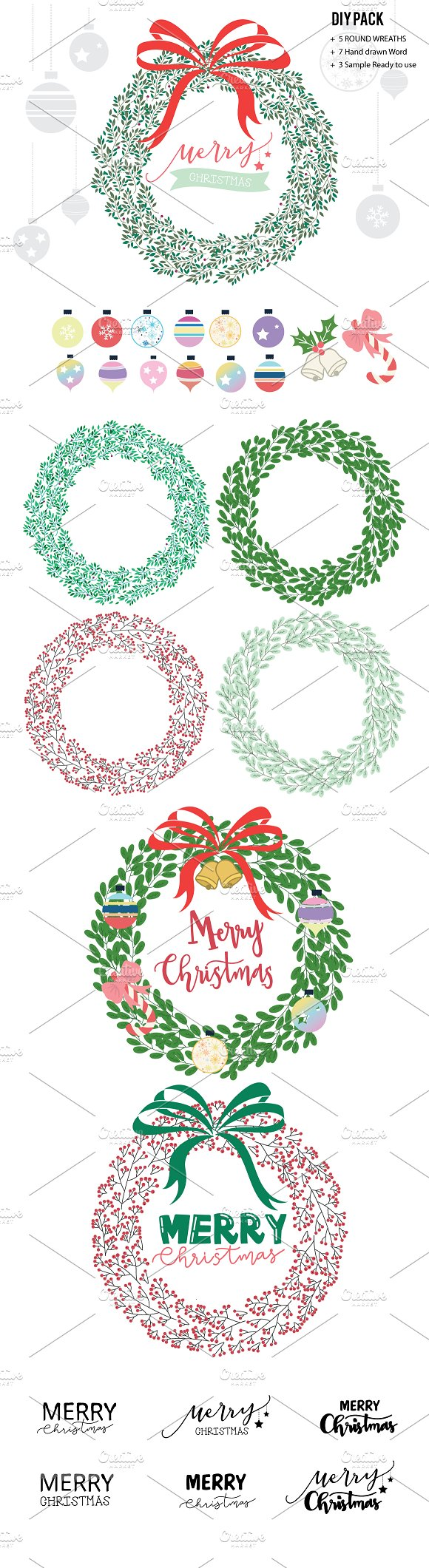 Christmas Wreaths Vector AND DIY