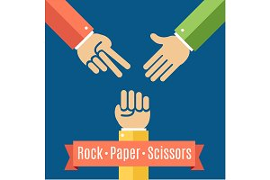 Rock Paper and Scissor Game Flat.