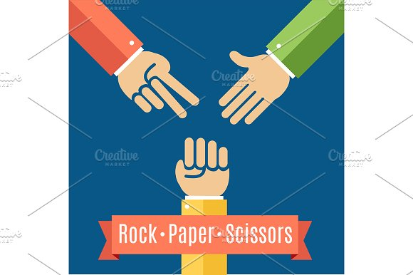 Rock Paper And Scissor Game Flat