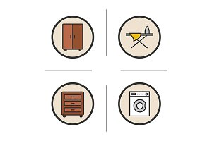 Furniture. 4 icons. Vector