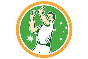 Cricket Fast Bowler Bowling Ball Cir