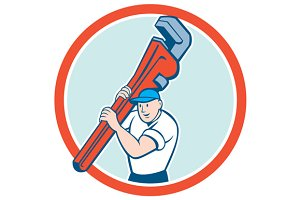 Plumber Carrying Monkey Wrench Circl