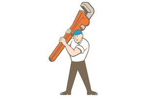 Plumber Carrying Monkey Wrench Carto