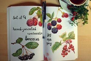 Set watercolor berries
