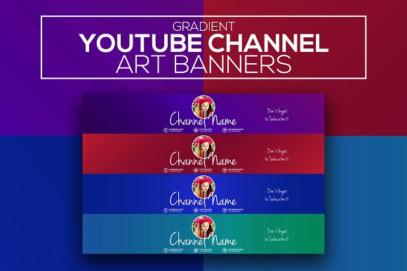Gradient youtube channel art banners youtube templates creative gradient youtube channel art banners youtube maxwellsz