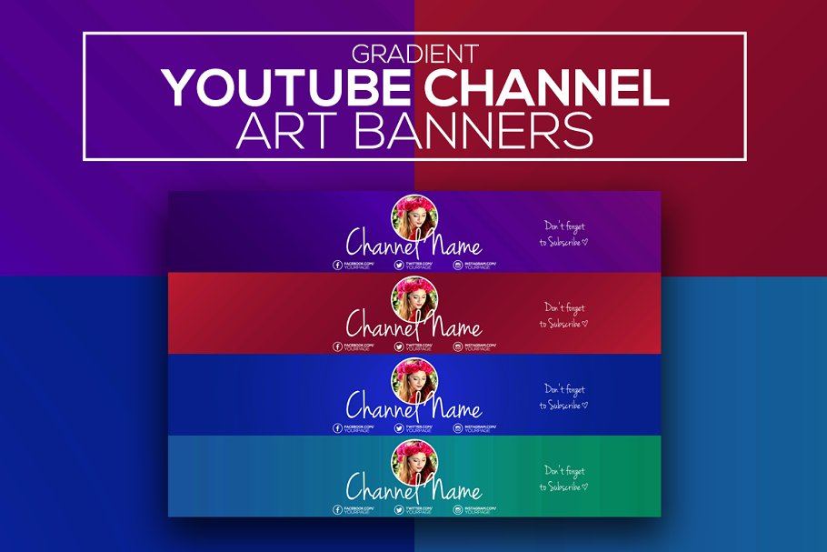 f6a7e703cb3 Gradient Youtube Channel Art Banners ~ YouTube Templates ~ Creative ...