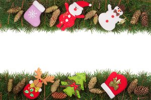 Christmas frame made of fir branches decorated with cones Snowman and Santa Claus isolated on white background