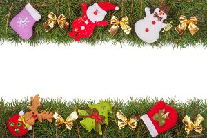 Christmas frame made of fir branches decorated with golden bows Snowman and Santa Claus isolated on white background