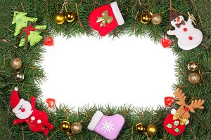 Christmas frame made of fir branches decorated with golden balls Snowman and Santa Claus isolated on white background