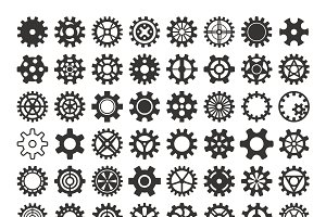 Vector black silhouette gears icons
