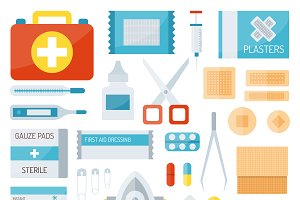 First aid kit isolated vector set