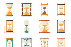 Transparent sandglass icons set