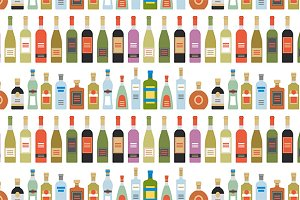 Alcohol drinks seamless pattern