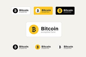 Bitcoin accepted stickers set.