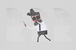 3d illustration.Businessman stealing