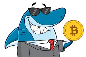 Shark Holding A Golden Bitcoin