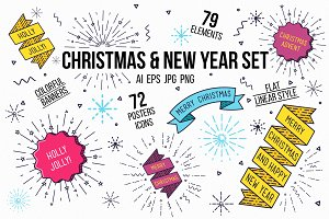 Christmas, new year flat posters set