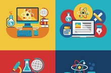 Education and science flat concepts