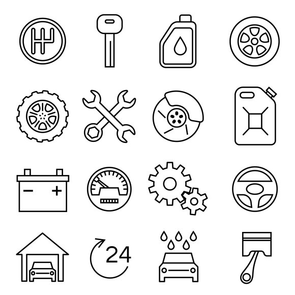 Car Parts And Auto Repair Icons