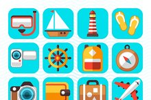 Travel tourism flat icons