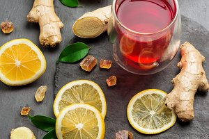 Ginger tea and ingredients