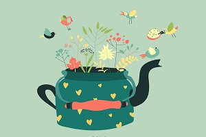 Cute teapot with spring herbs