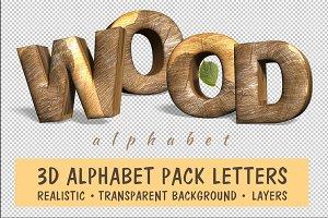 Realistic wooden alphabet