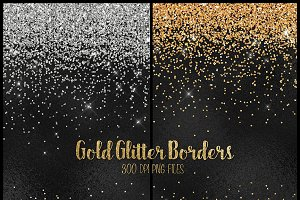 Gold Glitter PNG Border Clipart