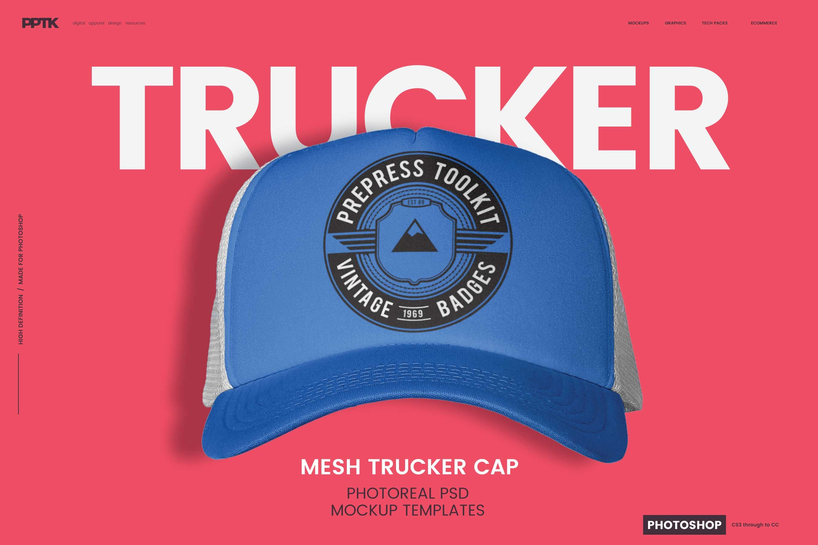 dc860cdfe53 Trucker Cap Photoshop Template ~ Product Mockups ~ Creative Market