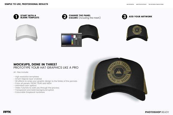 Trucker Cap Photoshop Template ~ Product Mockups ~ Creative Market