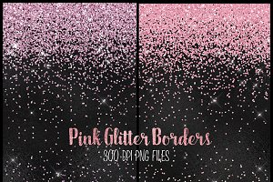 Pink Glitter PNG Borders