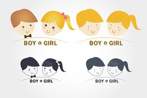 Kids,girl and boy icon
