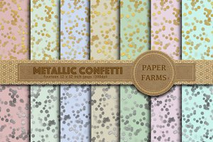 Metallic confetti digital paper