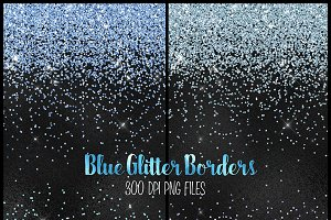 Blue Glitter PNG Overlays