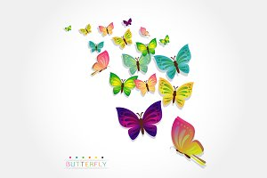 Colorful butterfly design background