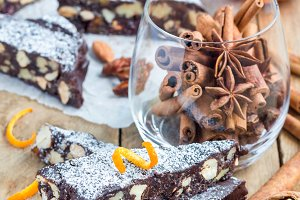 Panforte traditional italian christmas dessert with nuts and candied fruits