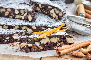 Panforte italian christmas dessert with nuts and candied fruits, horizontal