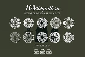 10 starpattern vector shape elements