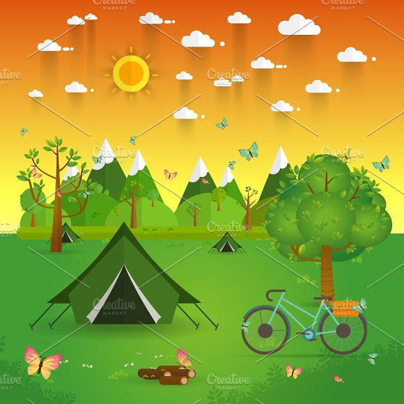 summer landscape Hiking and camping