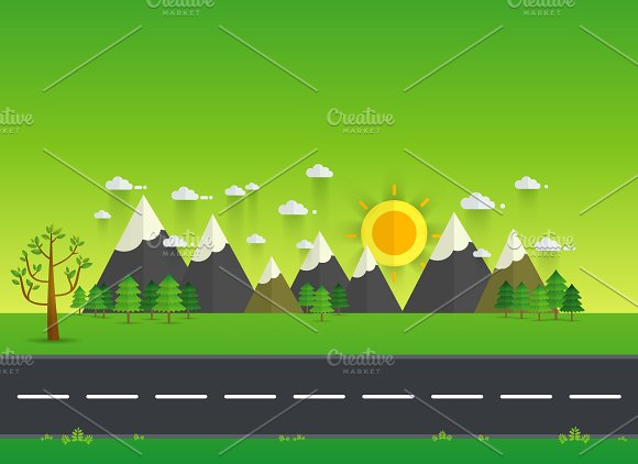 Road in green valley, mountains