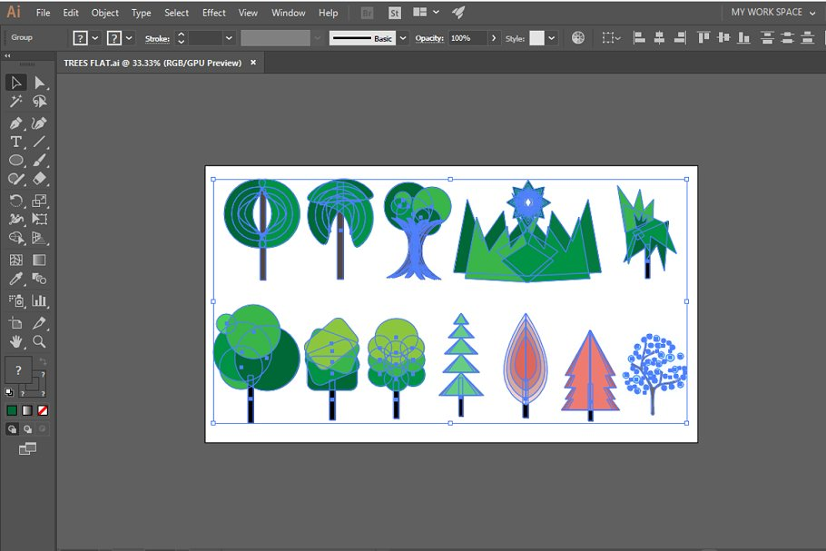 MOUNTAIN LANDSCAPE VECTOR  in Illustrations - product preview 2