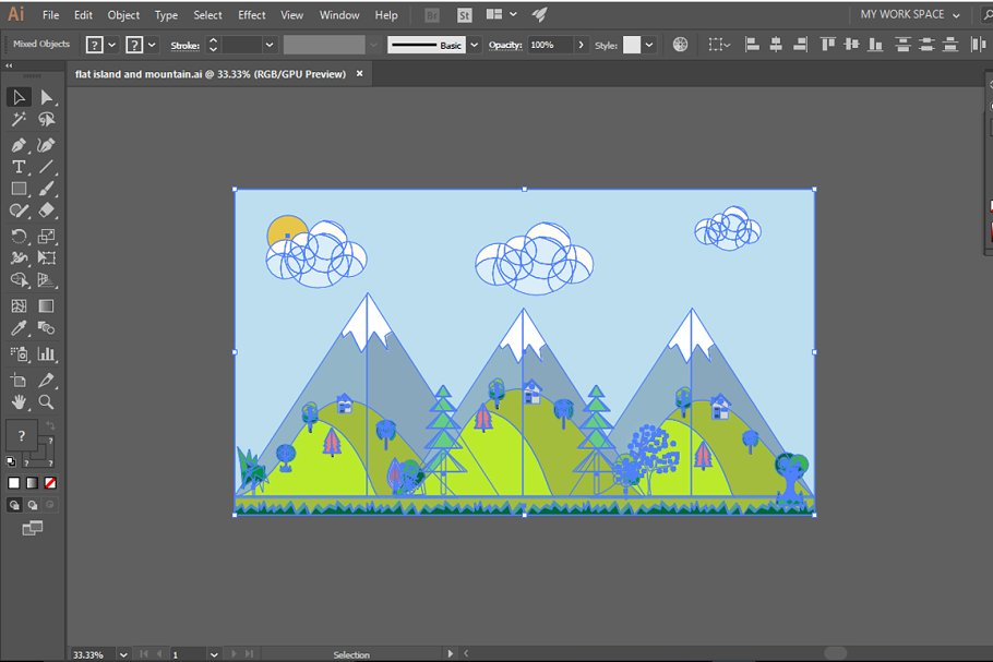 MOUNTAIN LANDSCAPE VECTOR  in Illustrations - product preview 3