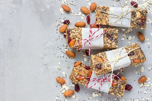 Homemade granola energy bars, healthy snack, top view, copy space
