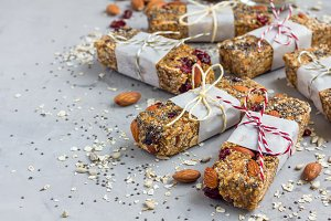 Homemade granola energy bars, healthy snack, copy space