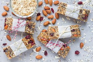 Homemade granola energy bars, healthy snack, top view