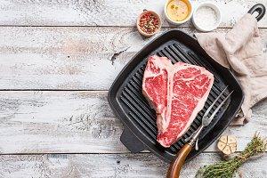 T-bone Steak on frying grill pan