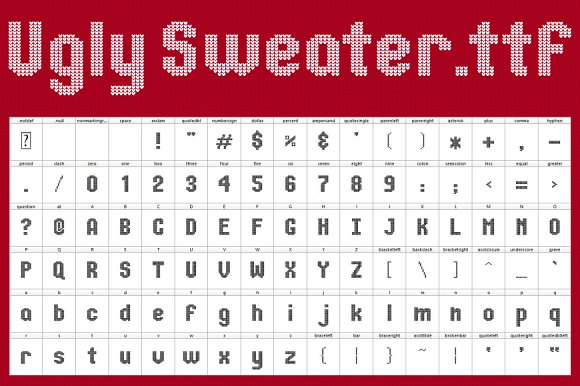 Creativemarket Ugly Sweater Font Icon Set 1129562