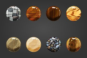 Set of wooden and stone buttons