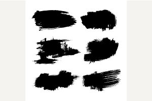Set of ink brush stroke vector