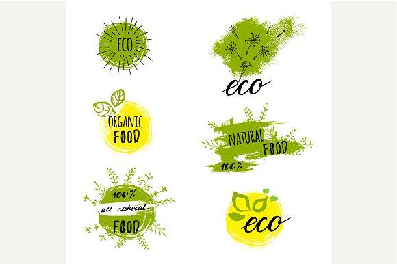 Set of bio, organic labels.